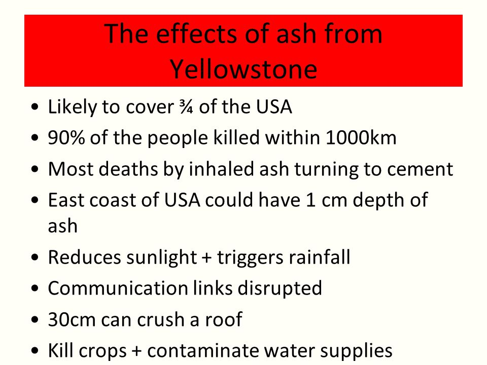 The effects of ash from Yellowstone Likely to cover ¾ of the USA 90% of the people killed within 1000km Most deaths by inhaled ash turning to cement East coast of USA could have 1 cm depth of ash Reduces sunlight + triggers rainfall Communication links disrupted 30cm can crush a roof Kill crops + contaminate water supplies