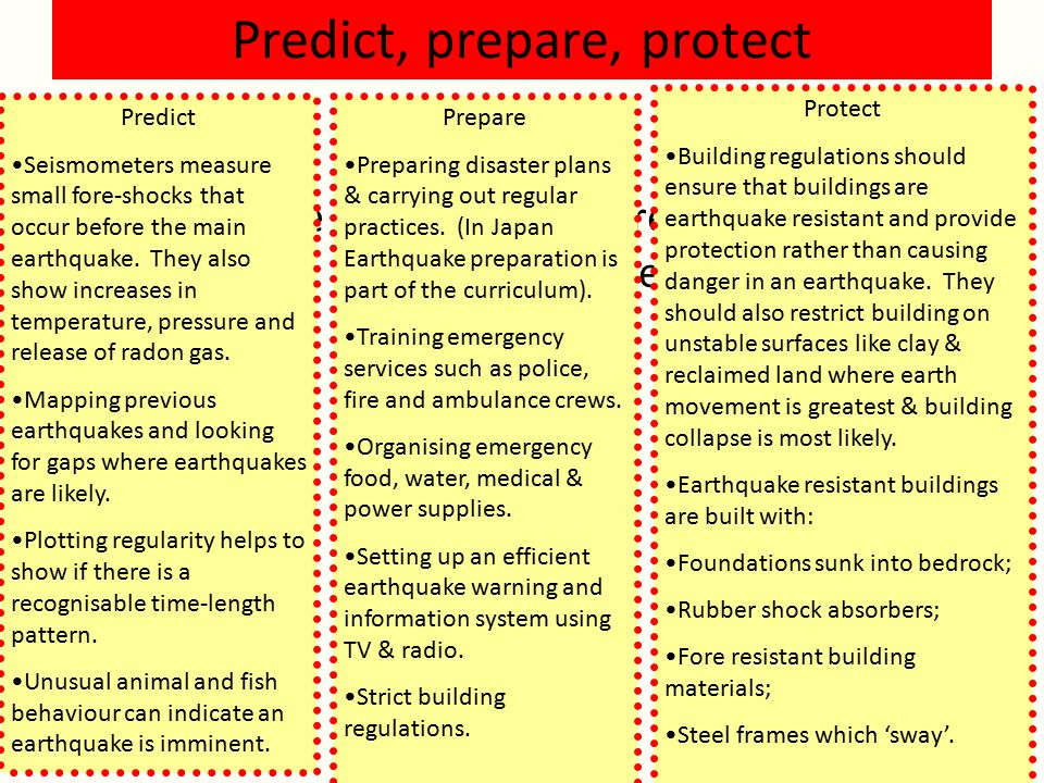 Predict, prepare, protect The '3 Ps' are used to try and reduce the effects of earthquakes.