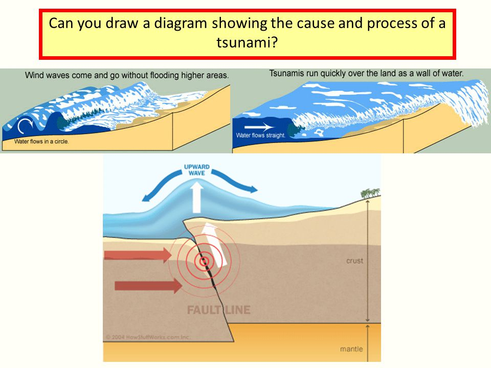 Can you draw a diagram showing the cause and process of a tsunami?