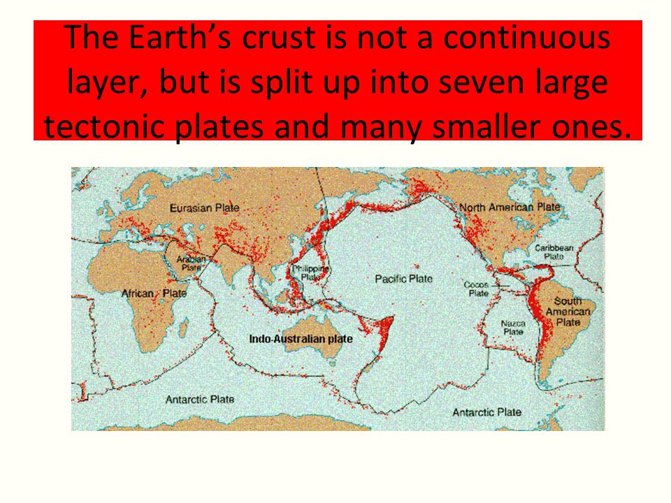 The Earth's crust is not a continuous layer, but is split up into seven large tectonic plates and many smaller ones.