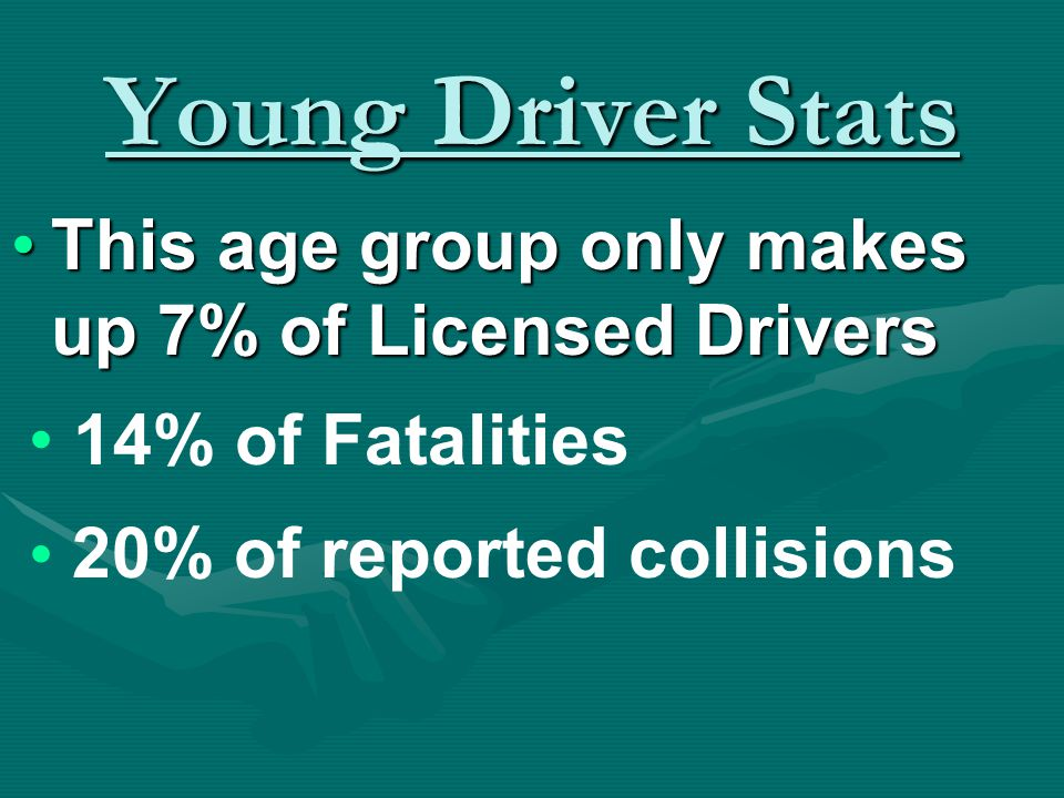 Young Driver Stats The number one cause of death for 15-20 year olds in the U.S.