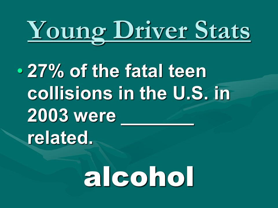 Young Driver Stats 53% of teen driver deaths occur ___ ________.53% of teen driver deaths occur ___ ________. on weekends.