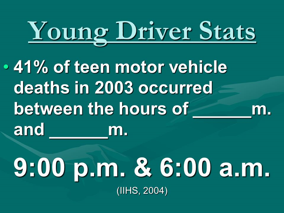 Young Driver Stats 27% of the fatal teen collisions in the U.S. in 2003 were _______ related. alcohol