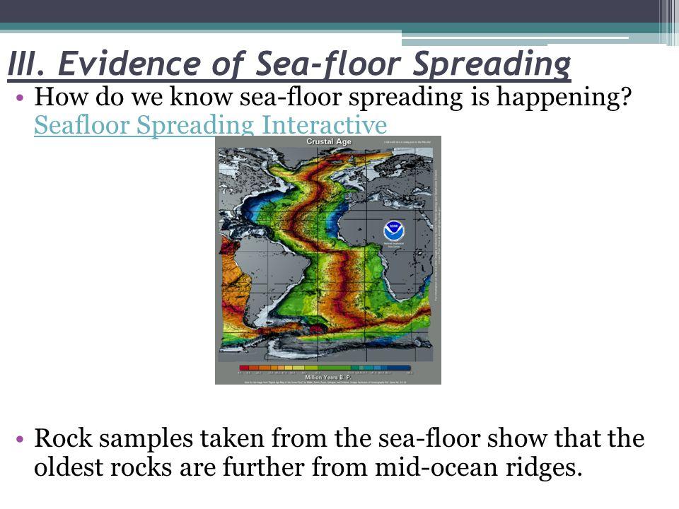III. Evidence of Sea-floor Spreading How do we know sea-floor spreading is happening.