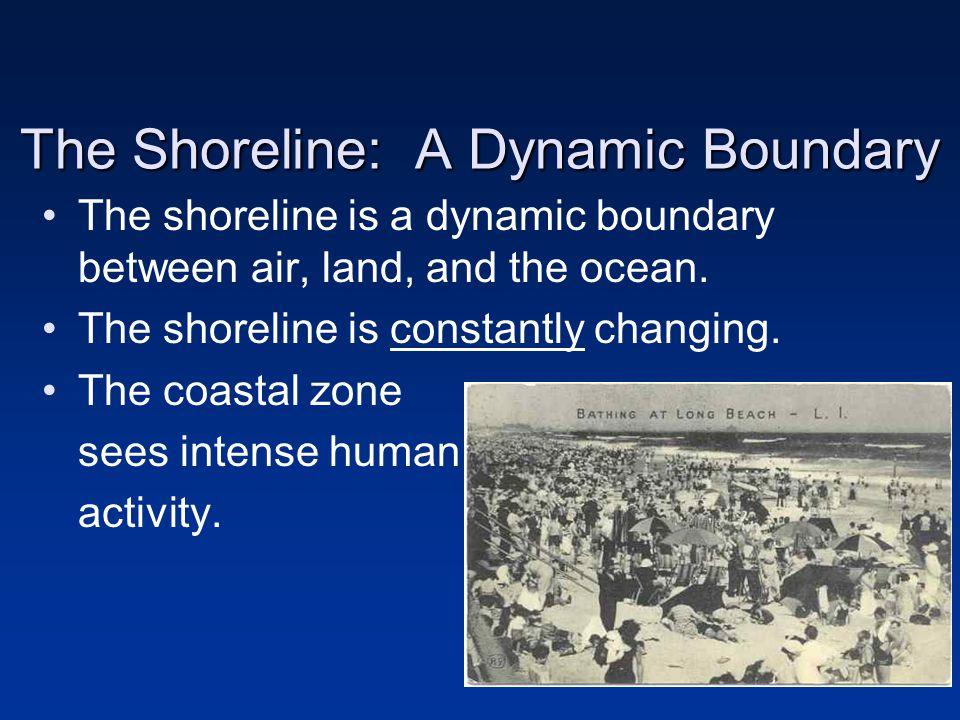 The Shoreline: A Dynamic Boundary The shoreline is a dynamic boundary between air, land, and the ocean.