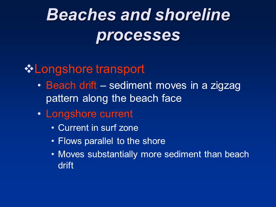 Beaches and shoreline processes  Longshore transport Beach drift – sediment moves in a zigzag pattern along the beach face Longshore current Current in surf zone Flows parallel to the shore Moves substantially more sediment than beach drift