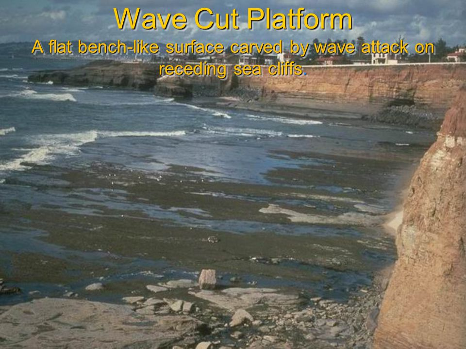 Wave Cut Platform A flat bench-like surface carved by wave attack on receding sea cliffs.