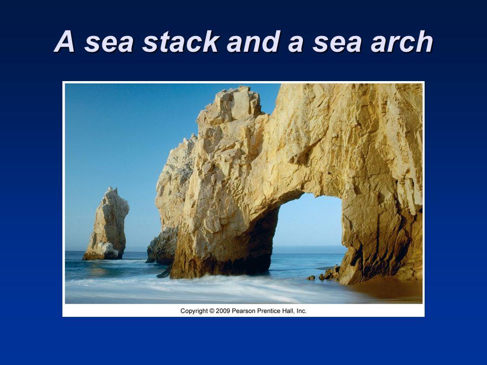 A sea stack and a sea arch
