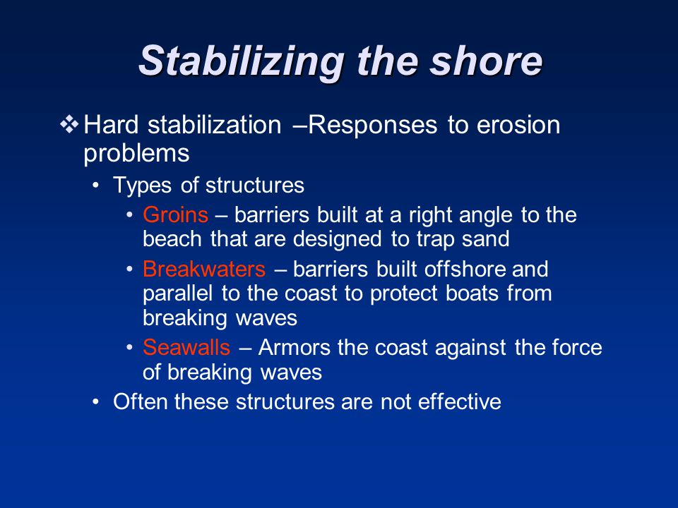 Stabilizing the shore  Hard stabilization –Responses to erosion problems Types of structures Groins – barriers built at a right angle to the beach that are designed to trap sand Breakwaters – barriers built offshore and parallel to the coast to protect boats from breaking waves Seawalls – Armors the coast against the force of breaking waves Often these structures are not effective