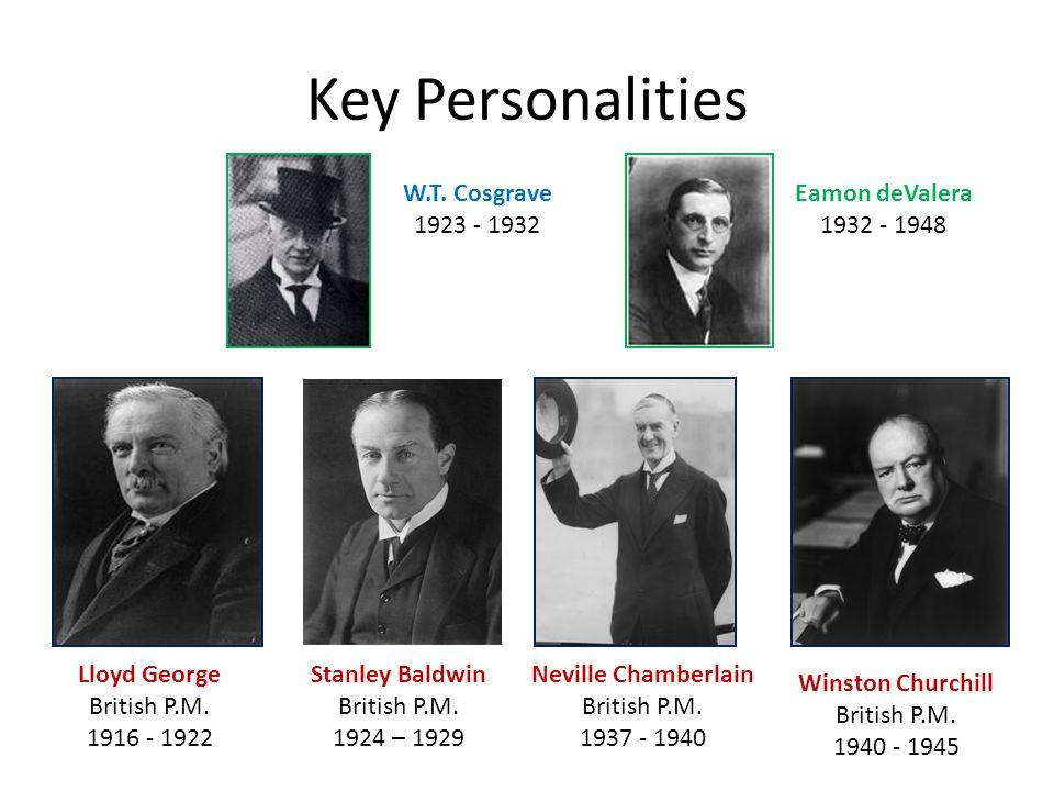 Key Personalities W.T. Cosgrave 1923 - 1932 Eamon deValera 1932 - 1948 Lloyd George British P.M.