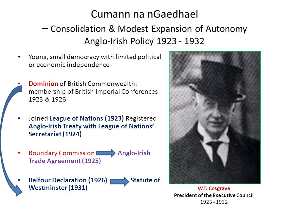 Cumann na nGaedhael – Consolidation & Modest Expansion of Autonomy Anglo-Irish Policy 1923 - 1932 Young, small democracy with limited political or economic independence Dominion of British Commonwealth: membership of British Imperial Conferences 1923 & 1926 Joined League of Nations (1923) Registered Anglo-Irish Treaty with League of Nations' Secretariat (1924) Boundary Commission Anglo-Irish Trade Agreement (1925) Balfour Declaration (1926) Statute of Westminster (1931) W.T.