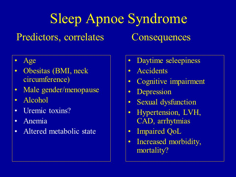 Sleep Apnoe Syndrome Age Obesitas (BMI, neck circumference) Male gender/menopause Alcohol Uremic toxins.