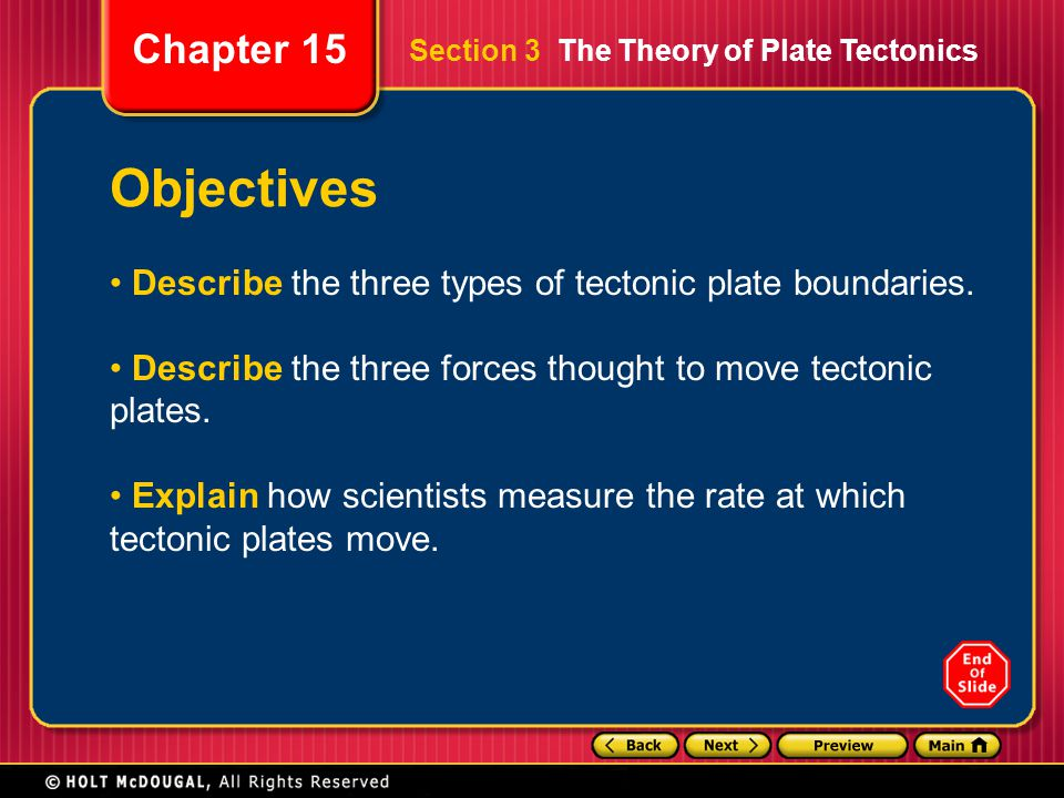 Chapter 15 Objectives Describe the three types of tectonic plate boundaries. Describe the three forces thought to move tectonic plates. Explain how sc