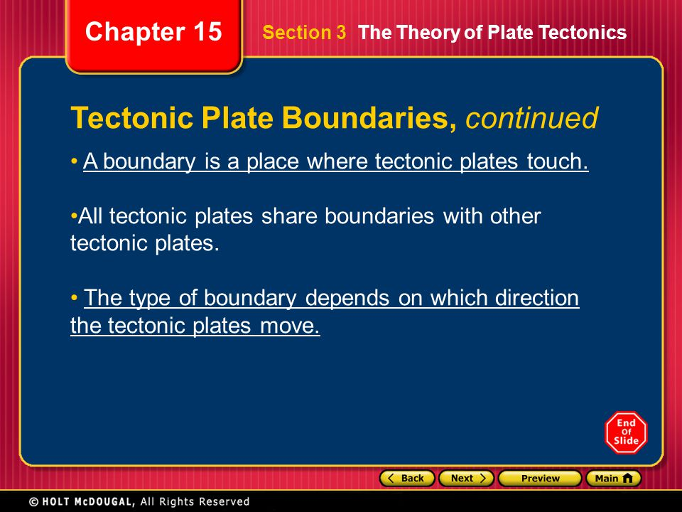 Chapter 15 Tectonic Plate Boundaries, continued A boundary is a place where tectonic plates touch. All tectonic plates share boundaries with other tec
