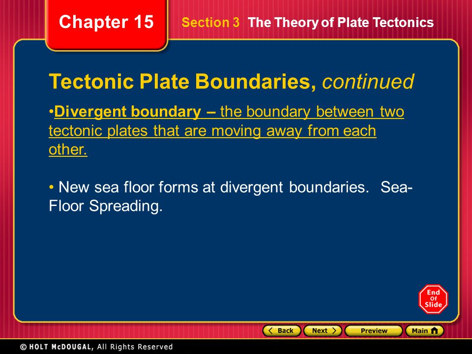 Chapter 15 Divergent boundary – the boundary between two tectonic plates that are moving away from each other. New sea floor forms at divergent bounda