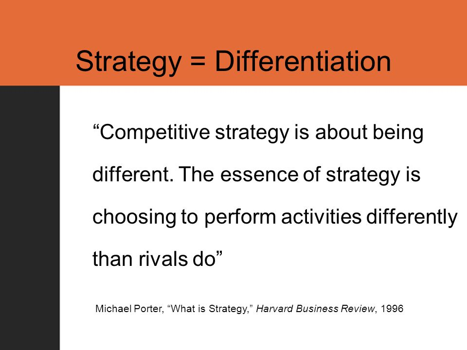 Strategy = Differentiation Competitive strategy is about being different.