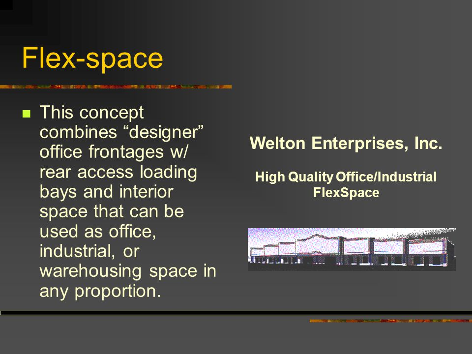 """Flex-space This concept combines """"designer"""" office frontages w/ rear access loading bays and interior space that can be used as office, industrial, or"""