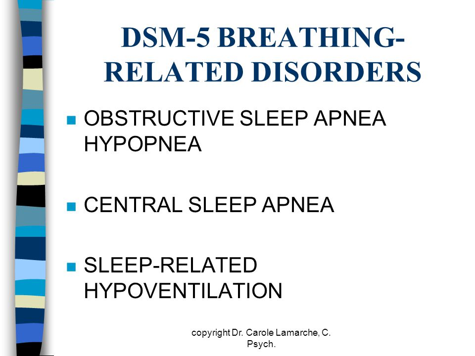 DSM-5 BREATHING- RELATED DISORDERS n OBSTRUCTIVE SLEEP APNEA HYPOPNEA n CENTRAL SLEEP APNEA n SLEEP-RELATED HYPOVENTILATION copyright Dr. Carole Lamar