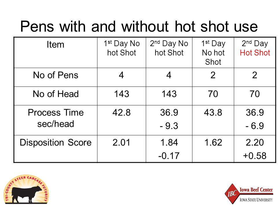 Pens with and without hot shot use Item 1 st Day No hot Shot 2 nd Day No hot Shot 1 st Day No hot Shot 2 nd Day Hot Shot No of Pens4422 No of Head143 70 Process Time sec/head 42.836.9 - 9.3 43.836.9 - 6.9 Disposition Score2.011.84 -0.17 1.622.20 +0.58