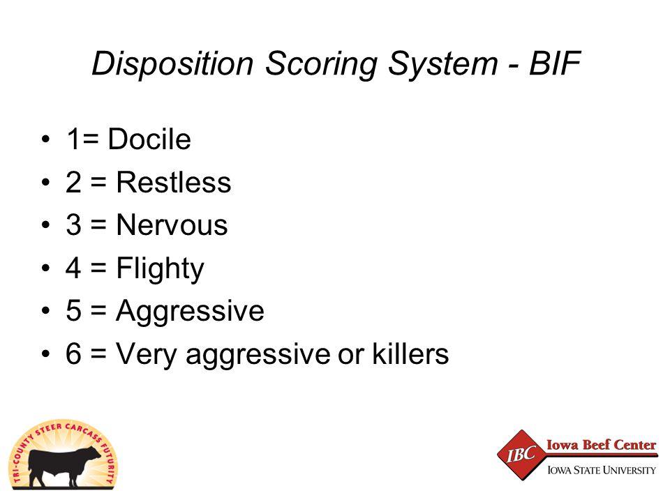 Disposition Scoring System - BIF 1= Docile 2 = Restless 3 = Nervous 4 = Flighty 5 = Aggressive 6 = Very aggressive or killers