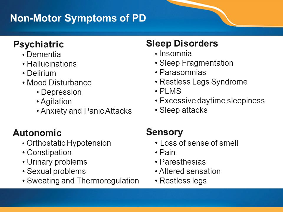 Non-Motor Symptoms of PD Sleep Disorders Insomnia Sleep Fragmentation Parasomnias Restless Legs Syndrome PLMS Excessive daytime sleepiness Sleep attacks Sensory Loss of sense of smell Pain Paresthesias Altered sensation Restless legs Psychiatric Dementia Hallucinations Delirium Mood Disturbance Depression Agitation Anxiety and Panic Attacks Autonomic Orthostatic Hypotension Constipation Urinary problems Sexual problems Sweating and Thermoregulation