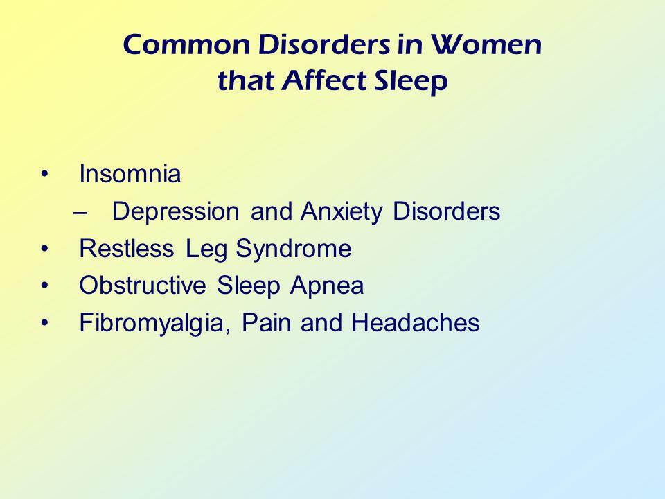 Insomnia –Depression and Anxiety Disorders Restless Leg Syndrome Obstructive Sleep Apnea Fibromyalgia, Pain and Headaches