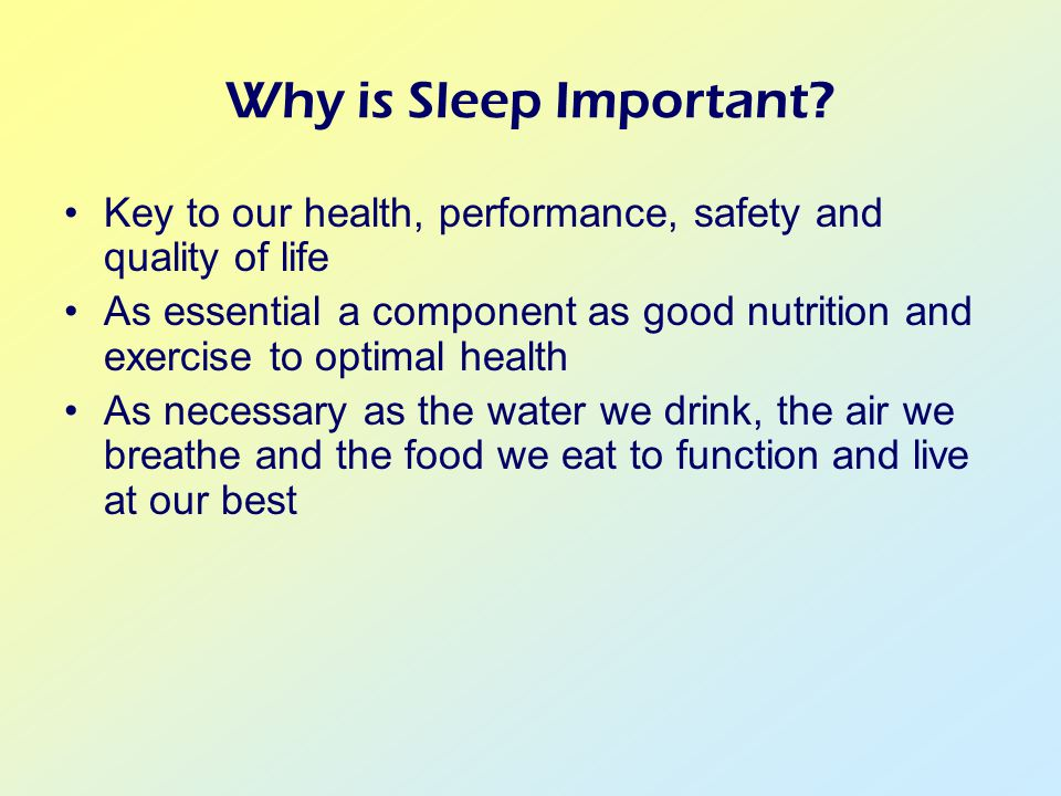 Why is Sleep Important.