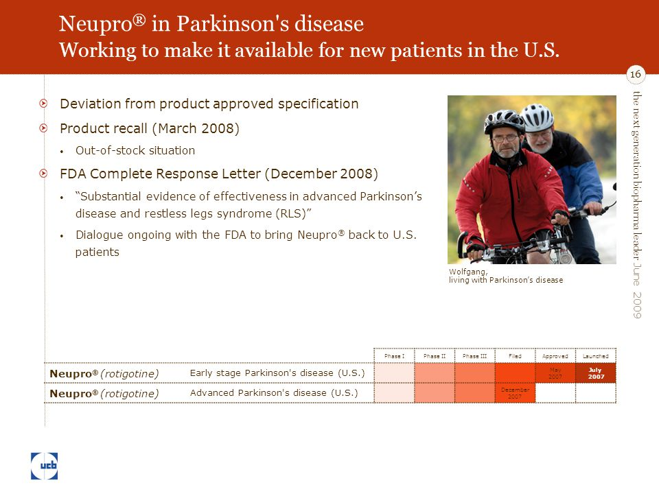 the next generation biopharma leader June 2009 16 Neupro ® in Parkinson s disease Working to make it available for new patients in the U.S.