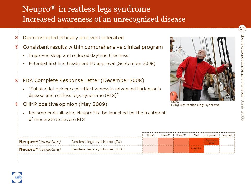 the next generation biopharma leader June 2009 17 Neupro ® in restless legs syndrome Increased awareness of an unrecognised disease Demonstrated efficacy and well tolerated Consistent results within comprehensive clinical program Improved sleep and reduced daytime tiredness Potential first line treatment EU approval (September 2008) FDA Complete Response Letter (December 2008) Substantial evidence of effectiveness in advanced Parkinson's disease and restless legs syndrome (RLS) CHMP positive opinion (May 2009) Recommends allowing Neupro ® to be launched for the treatment of moderate to severe RLS Phase IPhase IIPhase IIIFiledApprovedLaunched Neupro ® (rotigotine) Restless legs syndrome (EU) September 2008 Neupro ® (rotigotine) Restless legs syndrome (U.S.) December 2007 Sten, living with restless legs syndrome