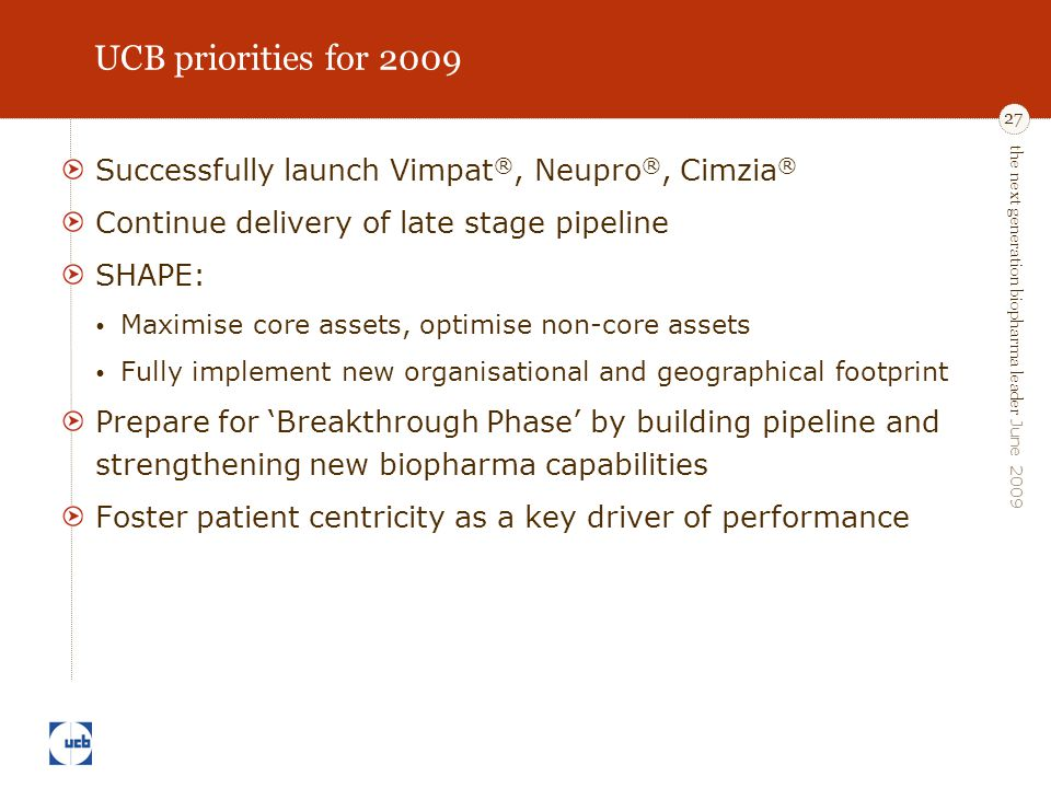 the next generation biopharma leader June 2009 27 UCB priorities for 2009 Successfully launch Vimpat ®, Neupro ®, Cimzia ® Continue delivery of late s