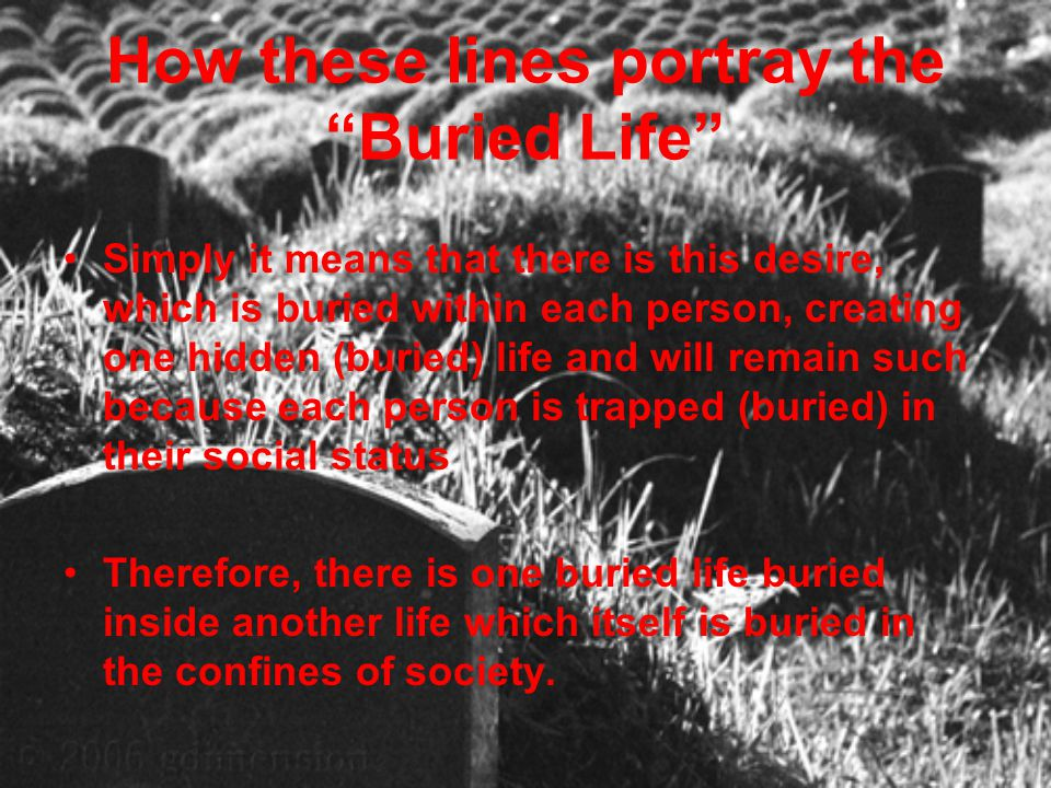 "How these lines portray the ""Buried Life"" Simply it means that there is this desire, which is buried within each person, creating one hidden (buried)"
