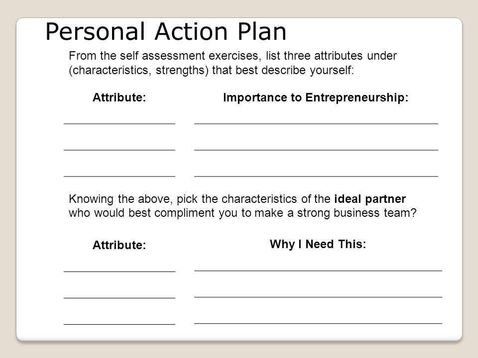 Personal Action Plan From the self assessment exercises, list three attributes under (characteristics, strengths) that best describe yourself: Attribute: Importance to Entrepreneurship: Knowing the above, pick the characteristics of the ideal partner who would best compliment you to make a strong business team.