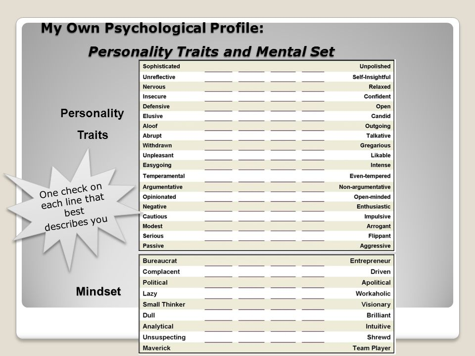 My Own Psychological Profile: Personality Traits and Mental Set PersonalityTraits Mindset One check on each line that best describes you