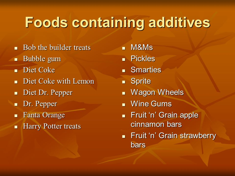 Foods containing additives Bob the builder treats Bob the builder treats Bubble gum Bubble gum Diet Coke Diet Coke Diet Coke with Lemon Diet Coke with Lemon Diet Dr.