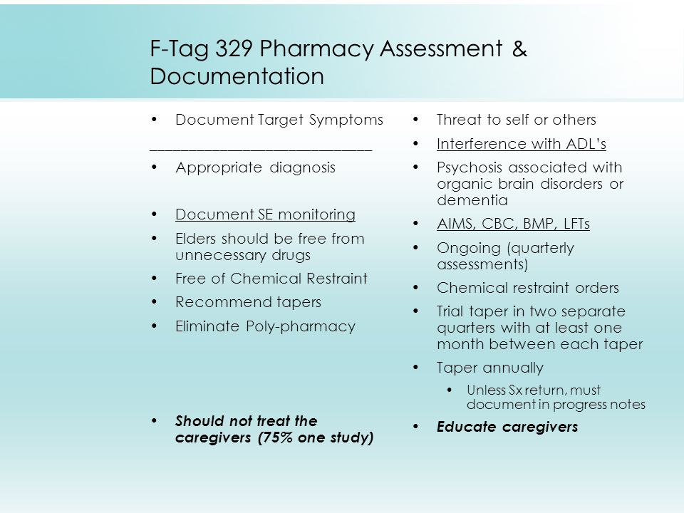 F-Tag 329 Pharmacy Assessment & Documentation Document Target Symptoms _____________________________ Appropriate diagnosis Document SE monitoring Elde