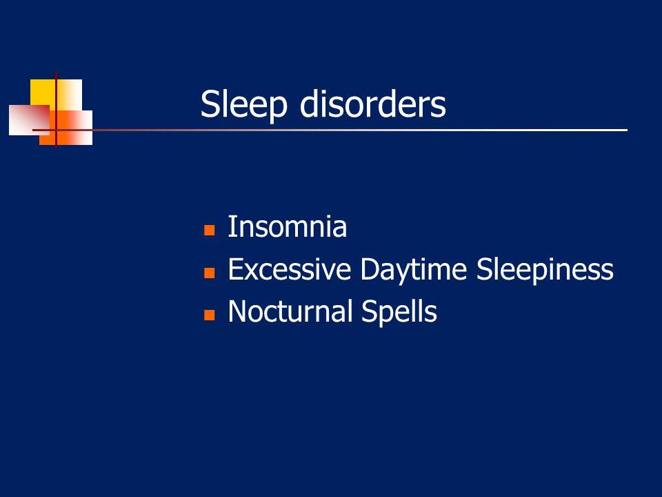 Sleep disorders Insomnia Excessive Daytime Sleepiness Nocturnal Spells