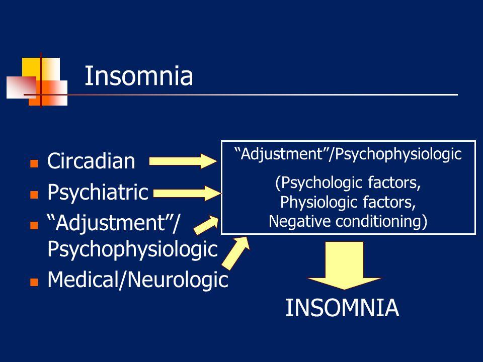 Insomnia Adjustment /Psychophysiologic (Psychologic factors, Physiologic factors, Negative conditioning) INSOMNIA Circadian Psychiatric Adjustment / Psychophysiologic Medical/Neurologic