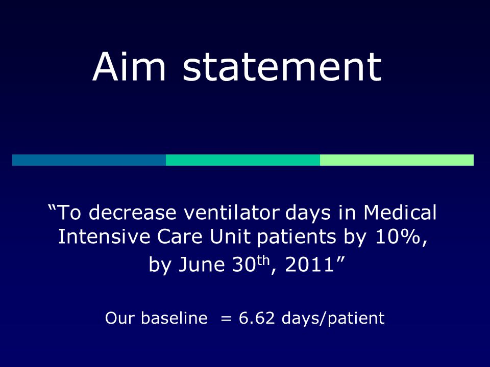 """Aim statement """"To decrease ventilator days in Medical Intensive Care Unit patients by 10%, by June 30 th, 2011"""" Our baseline = 6.62 days/patient"""