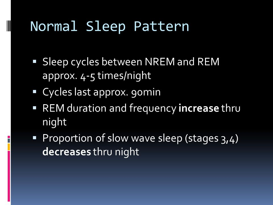 Normal Sleep Pattern  Sleep cycles between NREM and REM approx.