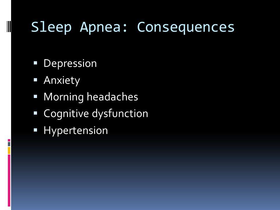 Sleep Apnea: Consequences  Depression  Anxiety  Morning headaches  Cognitive dysfunction  Hypertension