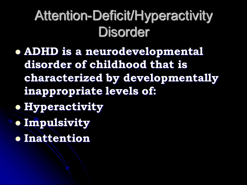 Neurological Findings Siblings of children with ADHD who do not have ADHD, have milder yet significant impairments in executive functions Siblings of children with ADHD who do not have ADHD, have milder yet significant impairments in executive functions This suggests a possible genetic risk for executive function deficits in families This suggests a possible genetic risk for executive function deficits in families