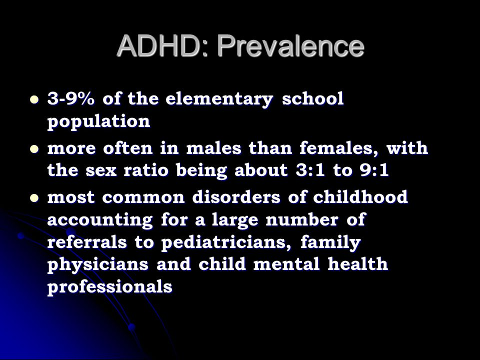 ADHD Risk Factors Maternal cigarette use Maternal cigarette use Maternal alcohol use Maternal alcohol use Unusually long or short labor Unusually long or short labor Forceps delivery Forceps delivery Toxemia Toxemia Meconium staining Meconium staining Birth during the month of September Birth during the month of September Minor physical anomalies Minor physical anomalies