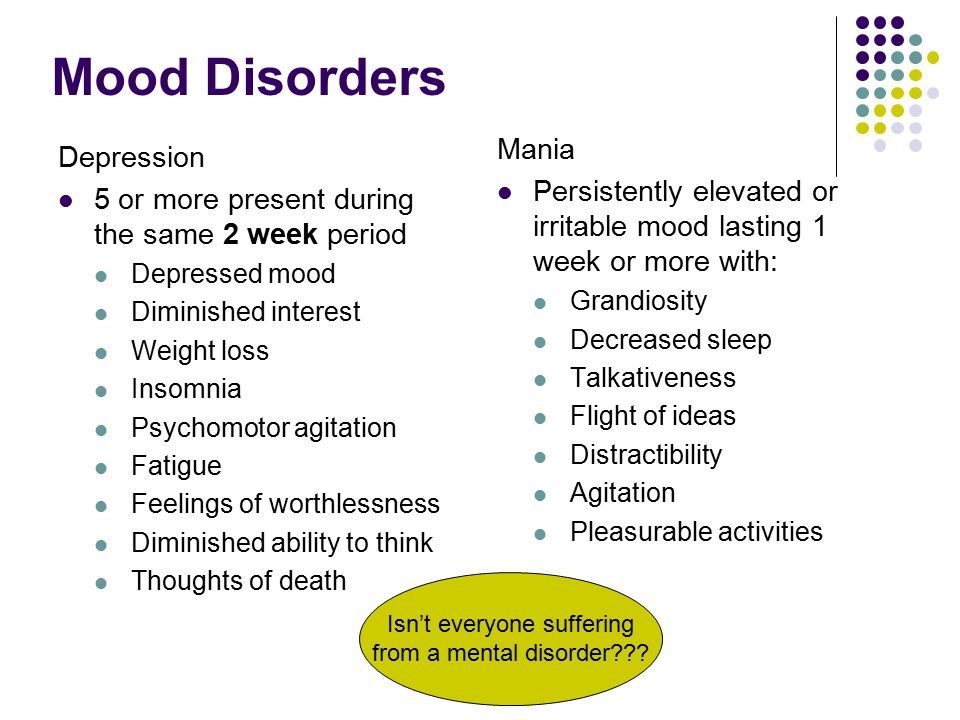 Mood Disorders Depression 5 or more present during the same 2 week period Depressed mood Diminished interest Weight loss Insomnia Psychomotor agitation Fatigue Feelings of worthlessness Diminished ability to think Thoughts of death Mania Persistently elevated or irritable mood lasting 1 week or more with: Grandiosity Decreased sleep Talkativeness Flight of ideas Distractibility Agitation Pleasurable activities Isn't everyone suffering from a mental disorder???