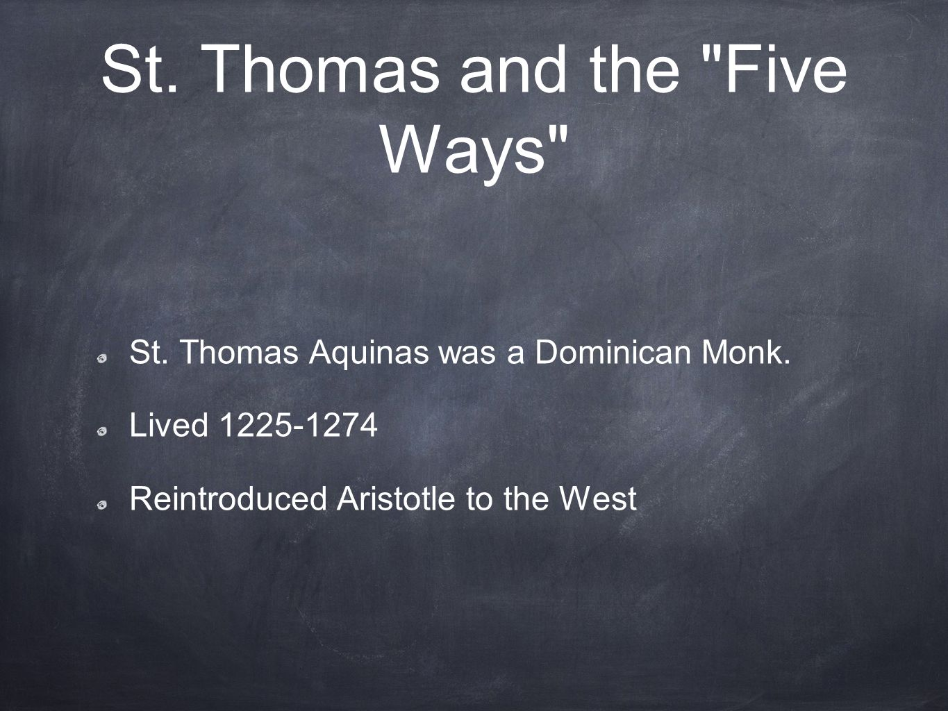 St. Thomas and the