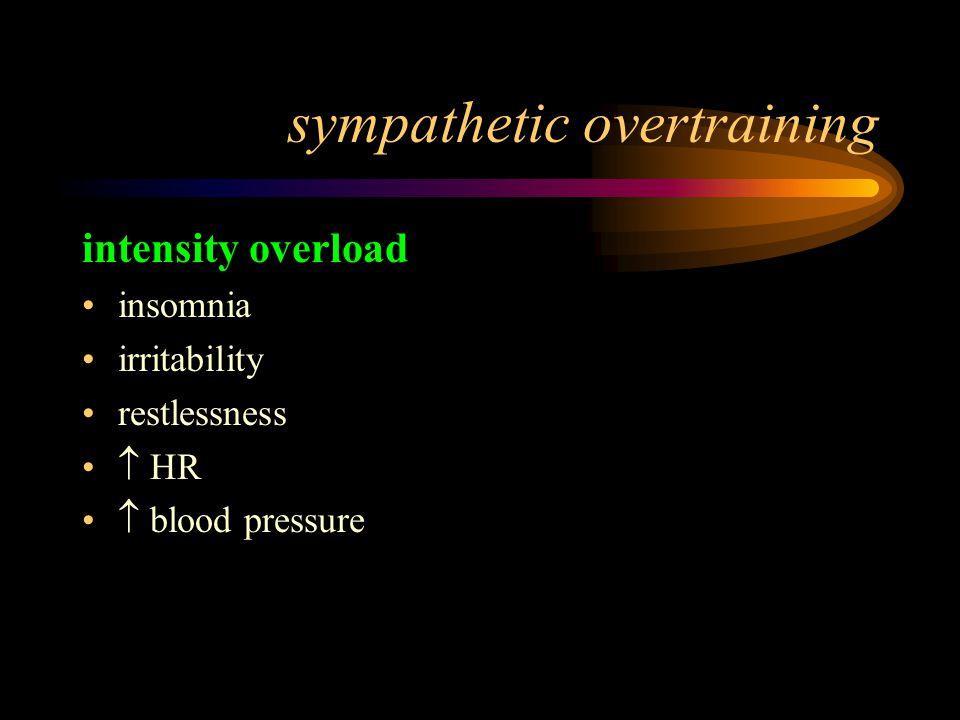 sympathetic overtraining intensity overload insomnia irritability restlessness  HR  blood pressure