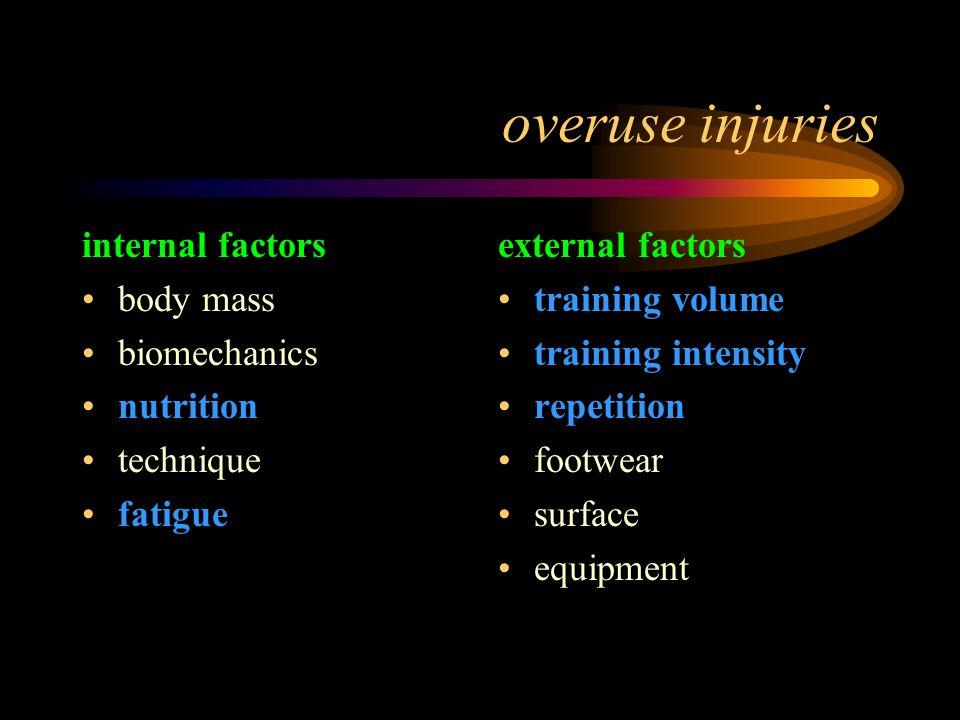 overuse injuries internal factors body mass biomechanics nutrition technique fatigue external factors training volume training intensity repetition footwear surface equipment