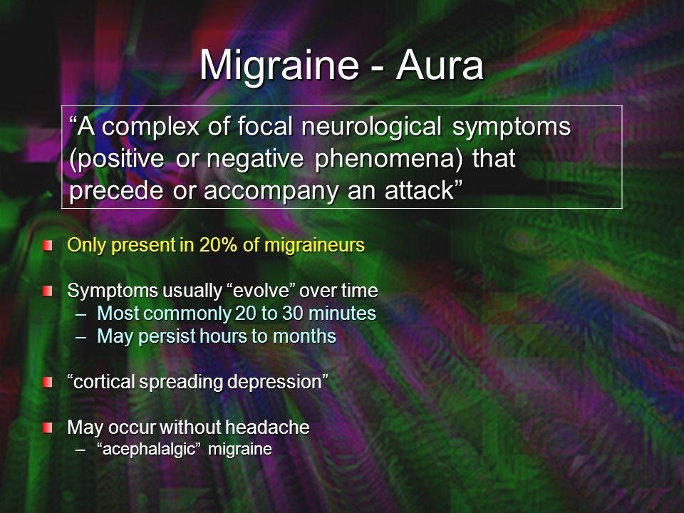 Chronic Migraine: More Than Just a Headache Coathanger Neck Pain Mood and Cognitive Disturbance Insomnia, poor STM, word substitutions, irritability, emotionalism, depression, anhedonia Chronic Fatigue Migraine Vertigo; Visual Vertigo; Veering Reflex Syncope / POTS +/- Frequent (+/-severe) Headache Stimulus Sensitivity Light, noise, smell Sensory Disturbance (paraesthesiae / formication Migraine-related dysequilibrium Dissociation, lightheaded, Etc.