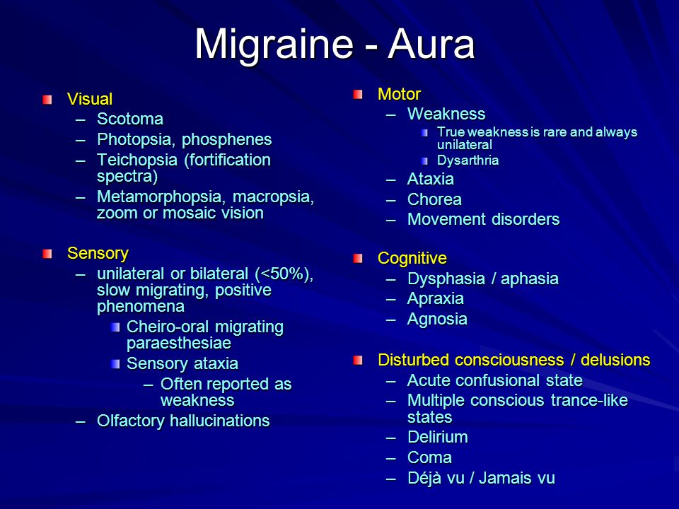 Migraine and Fibromyalgia (FMS) De Tommaso et al (Cephalalgia 2008) –FMS in 36% of patients with primary headache –Those with comorbid FMS had: Highest level of migraine severity Poor sleep quality –Headache severity heightened intensity of diffuse pain and fatigue Pamuk and Cakir (Clin Exp Rheumatol 2005) –Increased FMS symptoms with menses (pain / fatigue) –Increased prevalence of FMS starting at menopause