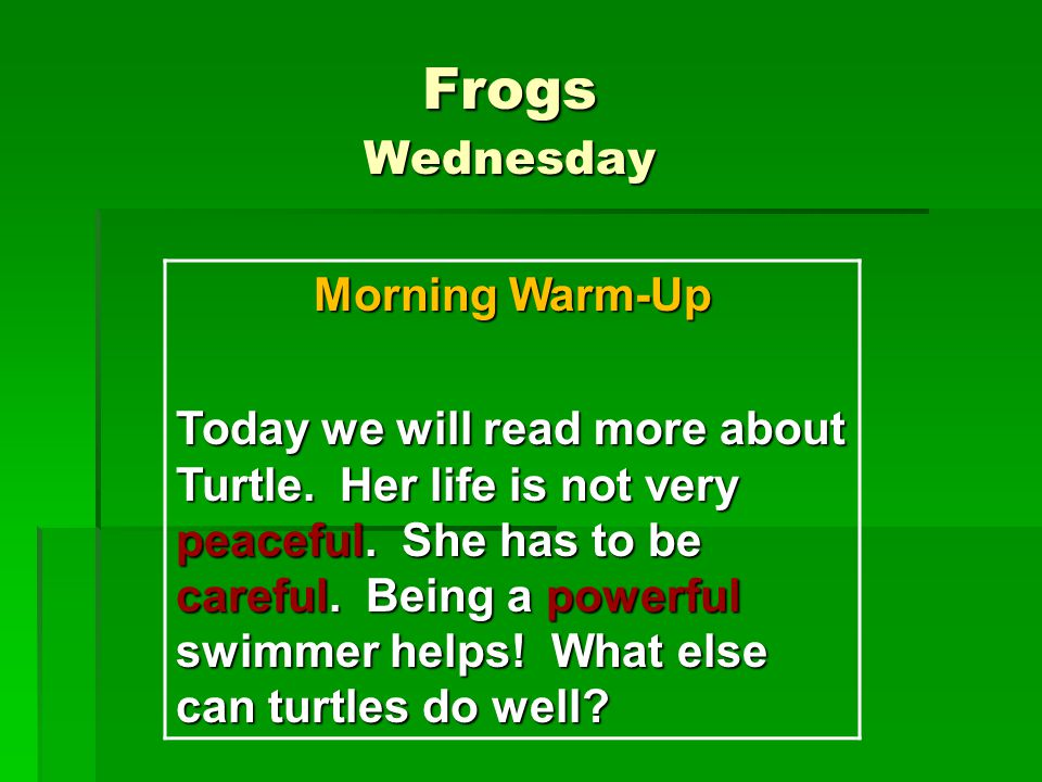 Frogs Wednesday Morning Warm-Up Today we will read more about Turtle. Her life is not very peaceful. She has to be careful. Being a powerful swimmer h