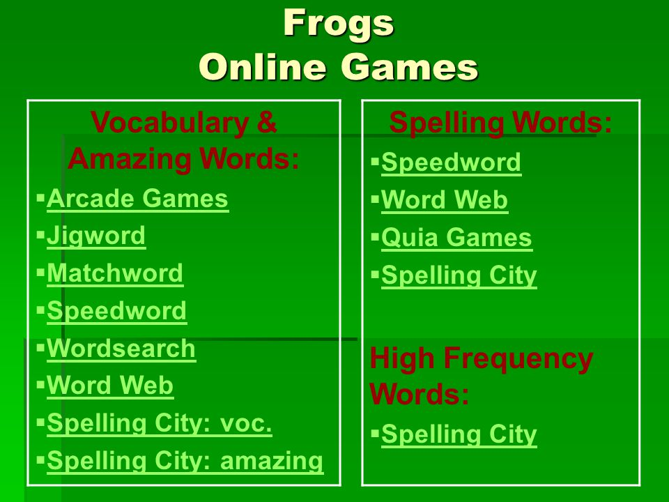 Frogs Online Games Vocabulary & Amazing Words:  Arcade Games Arcade Games  Jigword Jigword  Matchword Matchword  Speedword Speedword  Wordsearch Wordsearch  Word Web Word Web  Spelling City: voc.